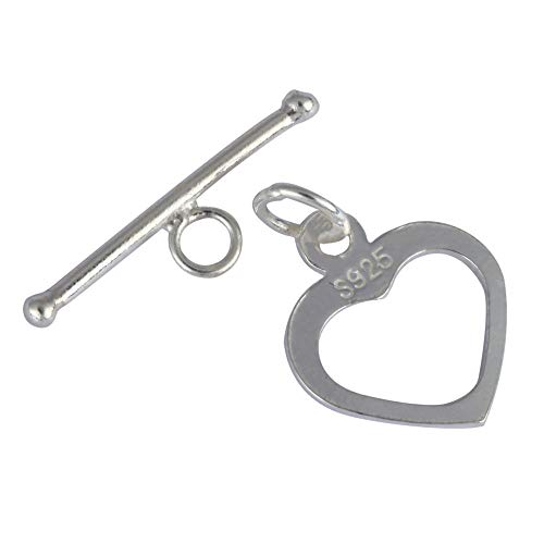 Large Toggle Heart (1 Set Sterling Silver Heart Shaped Toggle Clasp Connector 16mm for Jewelry Making SS26-BB)