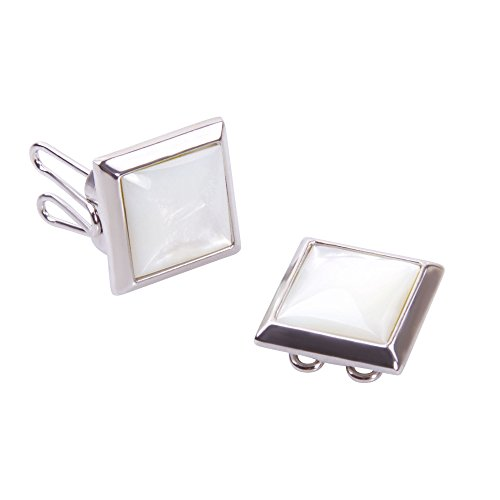 Mother of Pearl Button Covers - The Only Cufflinks for Shirts with Buttons (SQ-mop - Cover Cuff