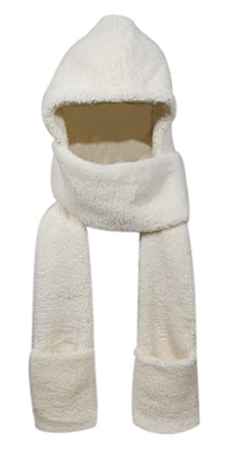 Super Soft Fleece Women's Hooded Scarf & Hat W/Glove Pockets By Bioterti (Ivory)