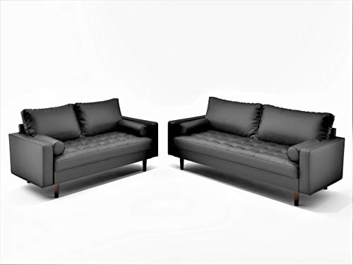 Container Furniture Direct Orion Mid Century Modern Faux Leather Upholstered Sofa Loveseat Set with Bolster Pillows