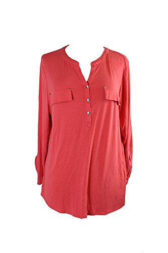 Charter Club Plus Size Coral /-Sleeve Jersey Top 2X from Charter Club