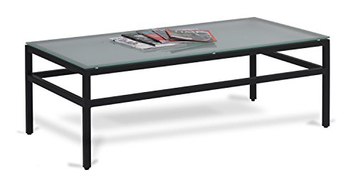 Urban Designs E-29714-Black Frame City Collection Coffee Table with Tempered Frosted Glass Black