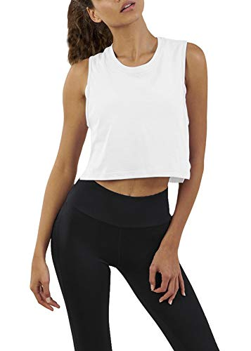 Bestisun Cute Athletic Crop Tank Tops Exercise Summer Petite Tops Casual Solid Shirts Muscle Breathable Stretchy Tanks Loose Fit Tank Tops for Burnout Women White S