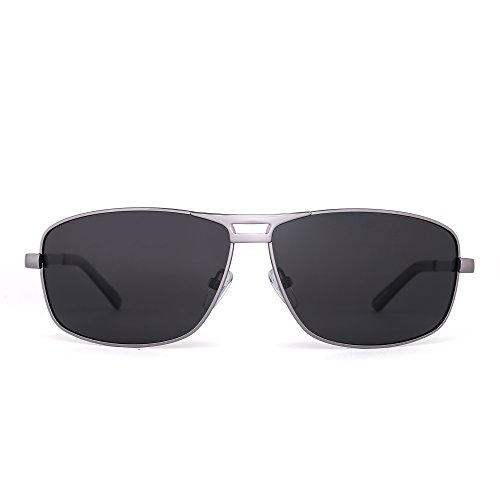 Polarized Rectangle Sunglasses Aviator Spring Hinge Driving Eyeglasses Men Women (Light Gunmetal / - Grey Aviator