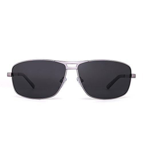 Polarized Rectangle Sunglasses Aviator Spring Hinge Driving Eyeglasses Men Women (Light Gunmetal / - Grey Aviators