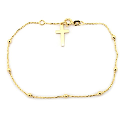(14k Yellow Gold Rosary Bead Cross Bracelet, 7.25