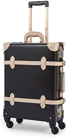 COTRUNKAGE 20 Genuine Leather Small Carry On Suitcase Aluminum Frame Luggage 20 , Jazz Black