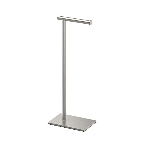 Gatco 1431SN Modern Square Base Toilet Paper Holder Stand, Satin Nickel, 22.25