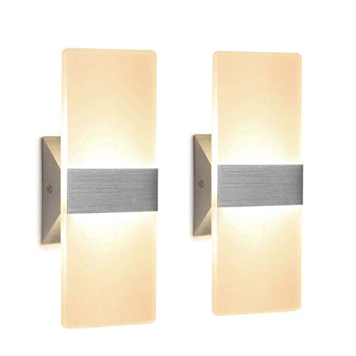 - Modern Wall Sconce 12W, Set of 2 LED Wall Lamp Warm White, Acrylic Material Wall Mounted Wall Lights