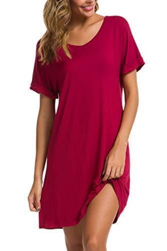 (AVIIER Womens Nightdress V Neck Short Sleeve Knee high Sleepshirt Ultra Soft (Red, Large))