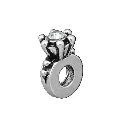 Clear Rhinestone Engagement Ring Charm Bead. Compatible With Most Pandora Style Charm Bracelets. ()
