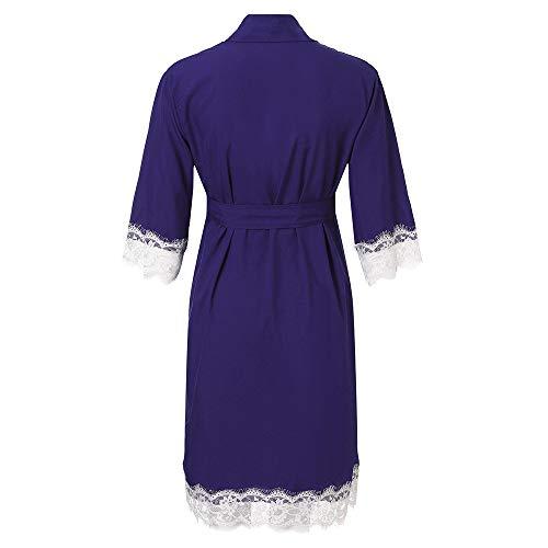 d6edde96fc 2019 New Maternity Pregnancy Labor Robe Nursing Lace Trim Nightgown  Pregnant Sleepwear Gown Dark Blue
