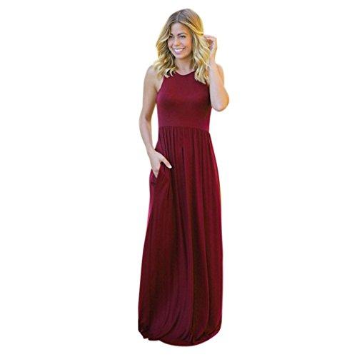 bolsillos Hmeng sin largo y mujer fiesta de con Vestido liso mangas estampado Wine para Vestido largo rwgYxqrfC