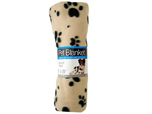 Fleece Paw Print Pet Blanket - Pack of 24