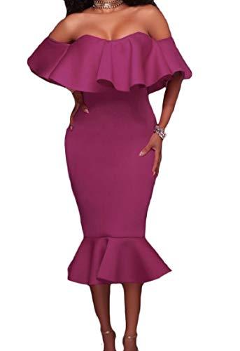 Jaycargogo Femmes Sexy Bustier À Volants En Forme Mince Robe Midi Partie Moulante En Queue De Poisson Violet