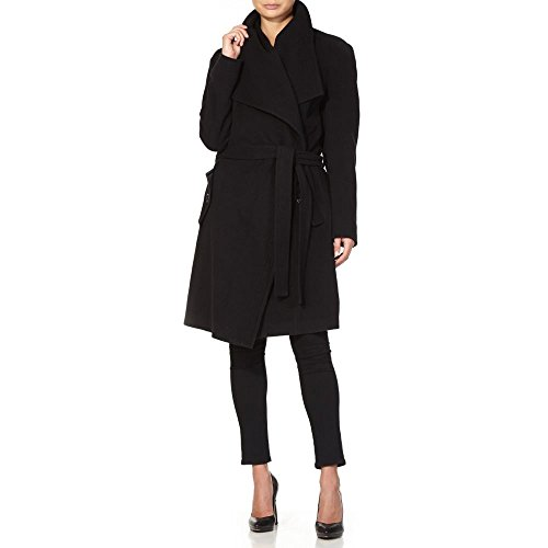 Wrap Belted Wool Collar Cashmere Anastasia Large Noir Coat Winter Womens w7FvqT