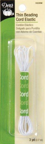 Dritz 9339W Thin Beading Cord Elastic, White, 1/32-Inch
