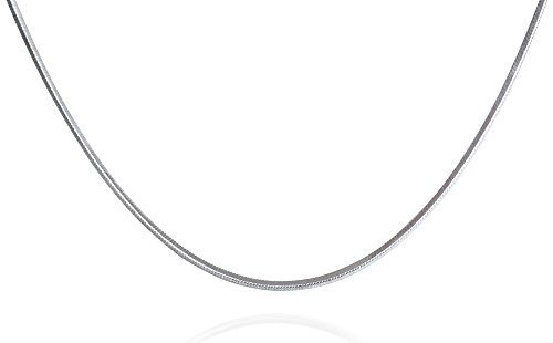 .925 Italian Sterling Silver Square Snake Chain Necklace, 1 mm in Width, 22 Inches in Length