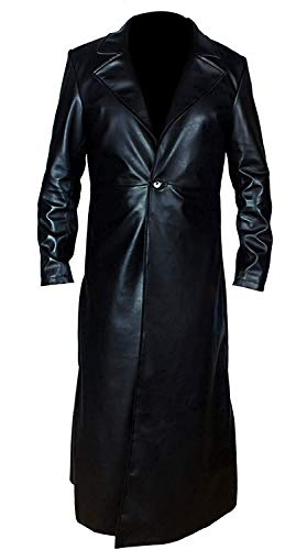Men's Dead Man The Undertaker WWE Long Waxed Black Leather Trench Coat -