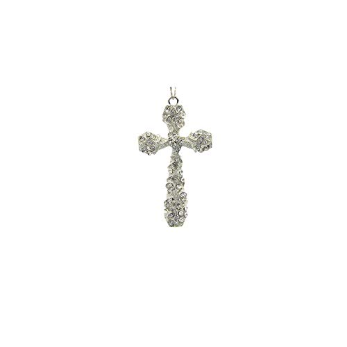 arricraft 2 Pcs Platinum Alloy Cross Charm Big Pendants with Crystal Rhinestone for Necklace Bracelet Zipper Pulls Key Chains Jewelry Making, 57x94mm 94 Mm Alloy Ring