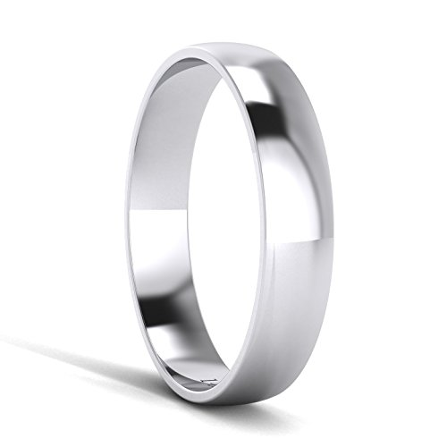 Unisex 14k White Gold 4mm Light Court Shape Comfort Fit Polished Wedding Ring Plain Band (12) by LANDA JEWEL (Image #2)