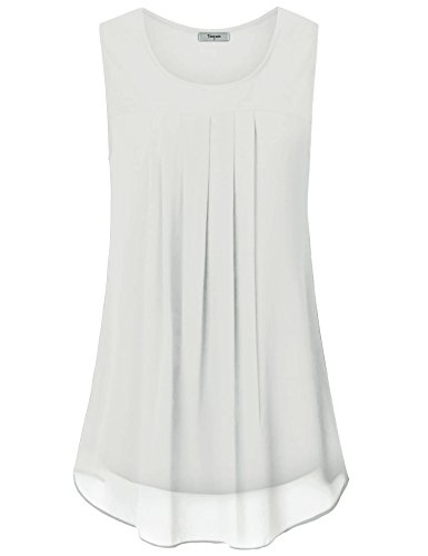Timeson Womens Tunic Tops White, Women's White Loose Shirts Sleevelss Casual A Line Tunics Tops Chiffon Tank Tops Elegant Blouses for Business Work for Junior White Small by Timeson