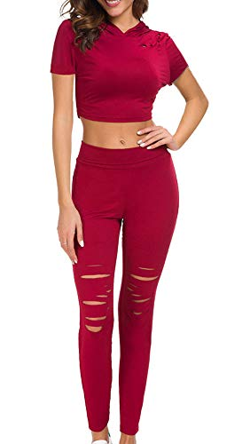 Womens 2 Piece Outfits Tracksuits Set-Pullover Hoodie Tops Sweatshirt and Skinny Pants Sweatsuit Set Joggers Sportwear