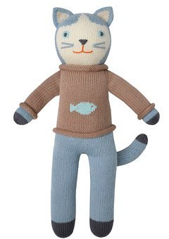 Blabla Sardine The Cat Plush Doll - Knit Stuffed Animal for Kids. Cute, Cuddly & Soft Cotton Toy. Perfect, Forever Cherished. Eco-Friendly. Certified Safe & Non-Toxic. (Blabla Pink Cat)