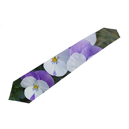- Purple White Pansy Ornaments Table Runner Festive Holiday Tapestry 13x90