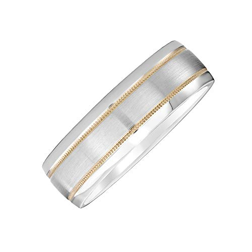 (Brilliant Expressions Men's 7mm Gray Cobalt Wedding Band with Double 14K Yellow Gold Stripes and Satin-Finish Center, Size 10)
