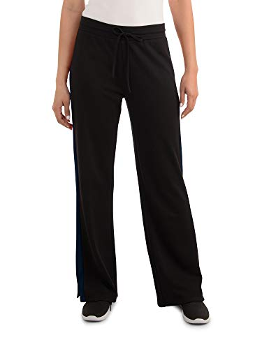 Seek No Further Women's Relaxed Fit Pull On Side Slit Wide Leg Track Pant...