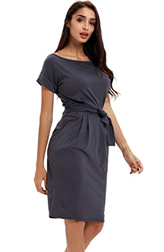 - Payeel Office Midi Dresses O-Neck Pencil Dress Pockets with Belt Vest Dresses (Dark Gray, S)