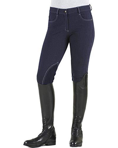 (Ovation Women's Euro Melange Zip Front Knee Patch Cotton Breeches, Indigo, 28)