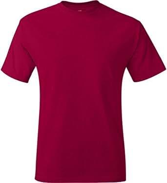 Hanes mens 6.1 oz. Tagless T-Shirt(5250)-Deep Red-S