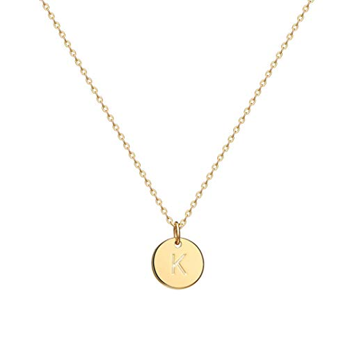 Befettly Initial Necklace,14K Gold-Plated Children Necklace Round Disc Double Side Engraved Hammered Name Necklace 16.5'' Adjustable Personalized Alphabet Letter Women Pendant K