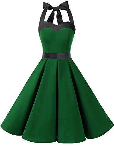 DRESSTELLS 50s Retro Halter Rockabilly Bridesmaid Audrey Dress Cocktail Dress Green Black XL