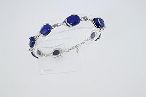 Bracelet en Lapis-lazuli B 126-01 - Bijoux en argent rhodié et Lapis-lazuli - Diverses pierres possible - ARTIPOL