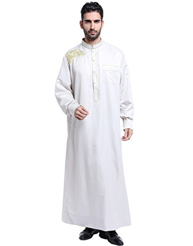 GladThink Men's Thobe with Long Sleeves Arab Muslim Wear Silver L
