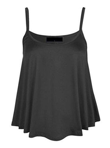 Femmes Uni Swing Cami À Bretelles Évasé Débardeur Sans Manche Haut Grande Taille - Charbon, Femme, S/M 36-38