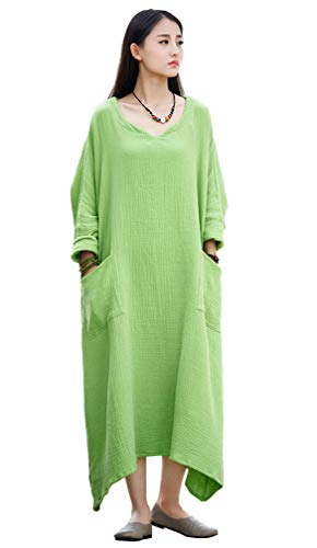 (Soojun Women's Casual Cotton Linen Long Dress with Batwing Sleeve, Style 1 Green, One Size)