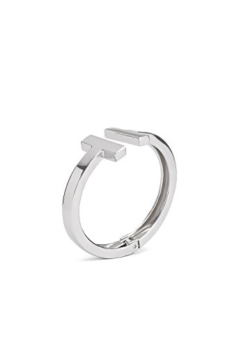 Double T Shape Bracelet Open Cuff Bangle Hinged Wrap High Polish Metal Wristband (silver) (Metal Hinged Bangle)