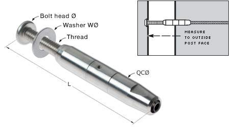 Feeney CR-9907-PKG (1/8 inch) Quick Connect Internal Thread Adjuster, 1-1/2'' Bolt (Pack of 2)