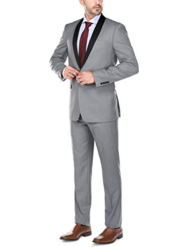 CHAMA Men's Single Breasted Shawl Collar Tuxedo Slim Fit Suit (36 Regular /30 Waist, Light Grey)