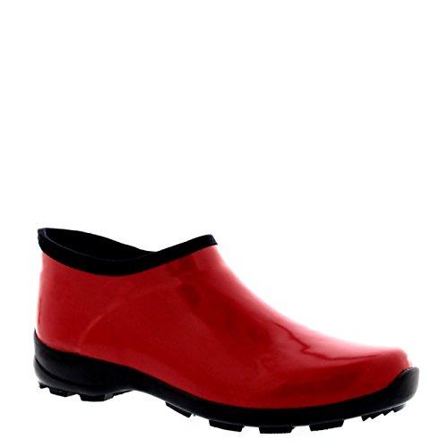 scuro Donna Gomma Lucidare Giardino Gomma Pioggia Stivali Rosso di Scarpe di Neve rzxPErq