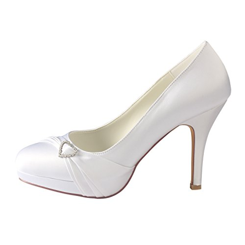 Rhinestones Emily White Shoes Heels Bridal Wedding Shoes Bridal Silk Toe Round High rgYYxpw5