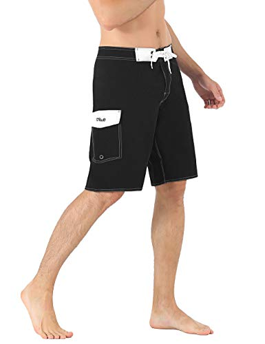 ed7b6e8622d50 Nonwe Men's Swim Trunks Quick Dry Summer Vacation Zipper Pocket Swimming  Trunks Black 42