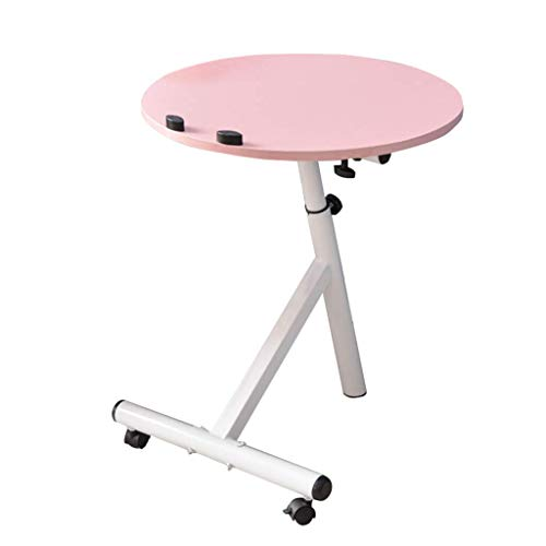 XD Series by KMC Wheels Dongy Portable Removable Laptop Stand Desk Cart Round Computer Desk Workstation,Adjustable Height,60° Swivel and 180° Tilt,Lockable Casters (Color : Pink)