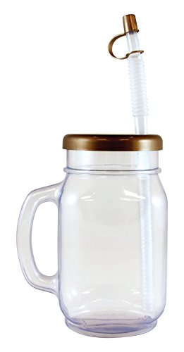 28oz Mason Jar with matching Lid and Straw - Clear Plastic, pack of 12 ()