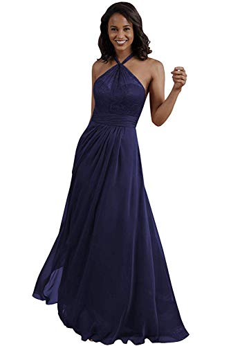 onlinedress Bridesmaid Dress Lace Halter Evening Party Dress Chiffon A-line Keyhole Back Prom Gown Long
