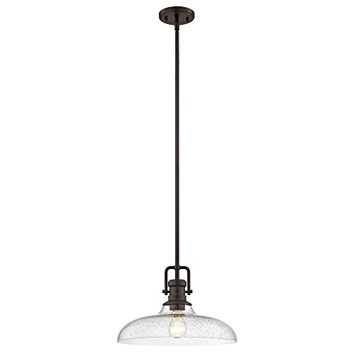Seeded Glass Pendant Light Bronze Finish 14-Inch Wide